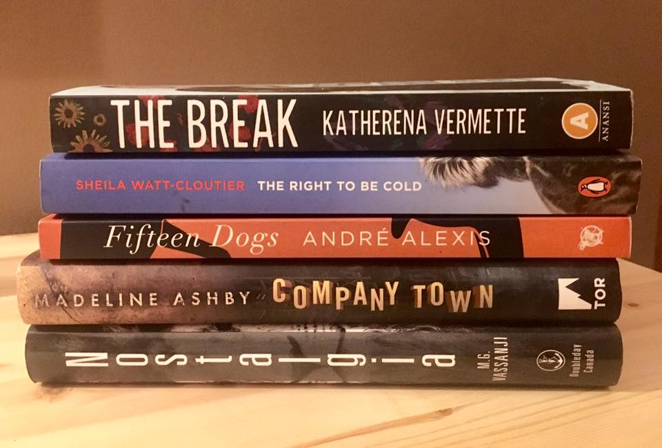 Photo of the Canada Reads 2017 finalists stacked up.