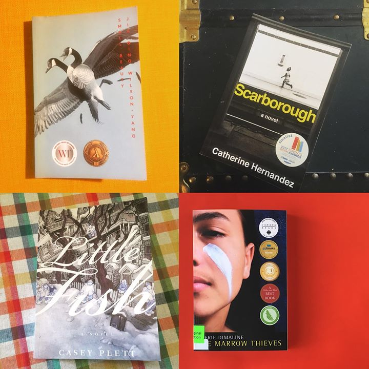Photo of four book covers including Small Beauty, Little Fish, Scarborough and Marrow Thieves